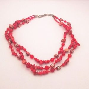 🛍️2/$15🛍️ Red Coral Multi Strand Necklace